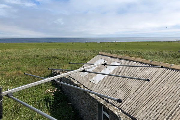 photo of aerial against North Ronaldsay background